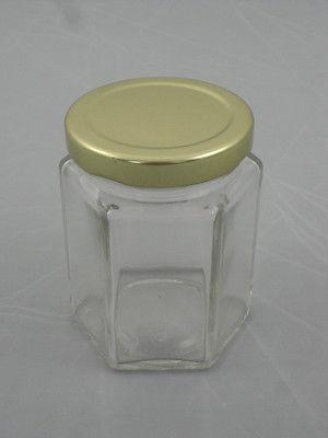 120 verhexen hexagonal glas essen konfit re kr ge mit gold deckel n chsten tag ebay. Black Bedroom Furniture Sets. Home Design Ideas