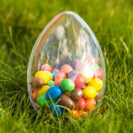Easter Egg Large Shaped Fillable Clear Plastic Container