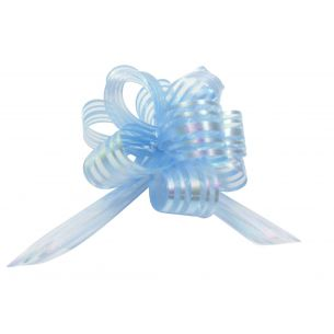 light blue pom pom bow small