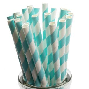 Pastel Blue Striped Paper Straws