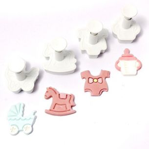 Fondant Cutter Plunger Set 4pcs Baby Shower Pram Rocking Horse Bottle