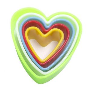 Multi Coloured Heart Fondant Cookie Cutter Set