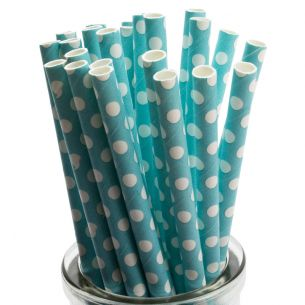 white polka dots on pastel blue paper straws