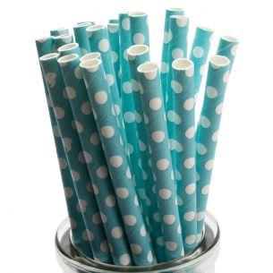 white polka dots on pastel blue paper straws