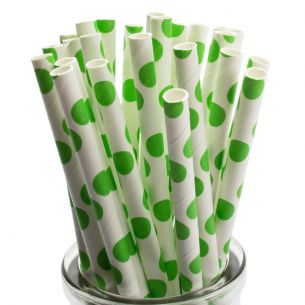green spots retro paper straws