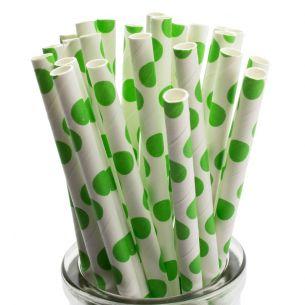 green spots retro paper straws