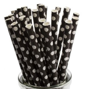 white polka dot on black paper straws