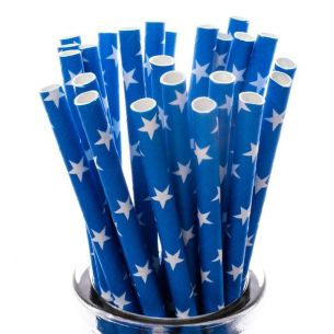 White Stars on Royal Blue Paper Straws x25