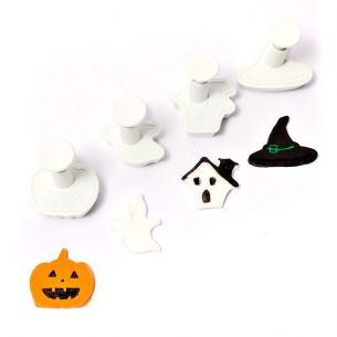 Fondant Cutter Plunger Set 4pcs Halloween Ghost Pumpkin Witch Hat Haunted House