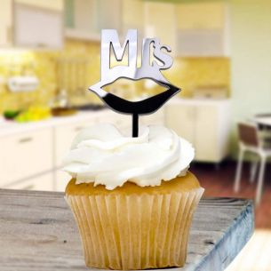 Black Mrs Cupcake Toppers x8