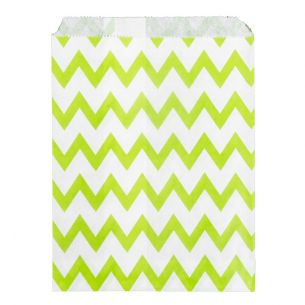 Paper Sweet Bags x25 - Green Chevron Pattern - Flat
