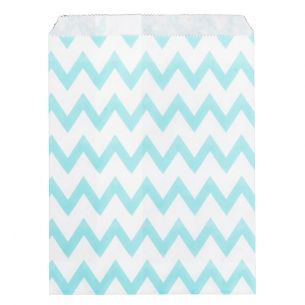 Paper Sweet Bags x25 - Blue Chevron Pattern - falt