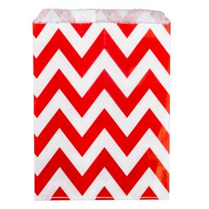 Paper Sweet Bags x25 - Red Chevron Pattern - flat