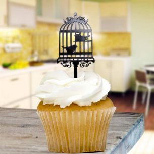 Bird Cage Cupcake Toppers x8