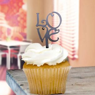 Black Love Cupcake Toppers x8