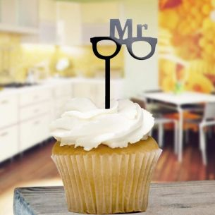 Black Mr & Glasses Cupcake Toppers x8