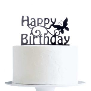 Happy Birthday With Butterfly Cake Topper x1