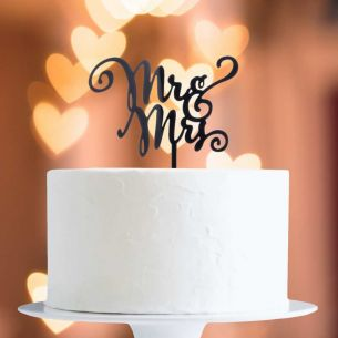 Black Mr & Mrs Cake Topper x1