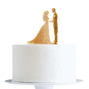 Gold Glitter Bride And Groom Cake Topper x1