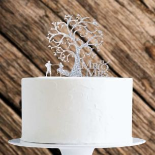 Silver Glitter Couple With Tree Cake Topper x1
