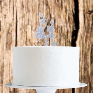 Silver Glitter Family Cake Topper x1