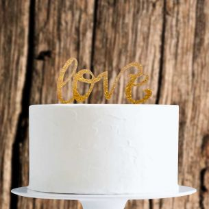 Gold Glitter Love Cake Topper x1