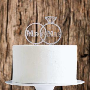 Silver Glitter Mr&Mrs Rings Cake Topper x1