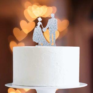 Silver Glitter Bride & Groom Cake Topper x1