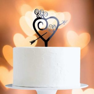 Black Heart And Arrow Cake Topper x1