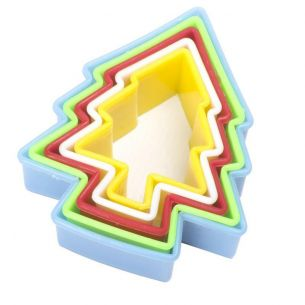 Multi Coloured Xmas Tree Fondant Cookie Cutter Set