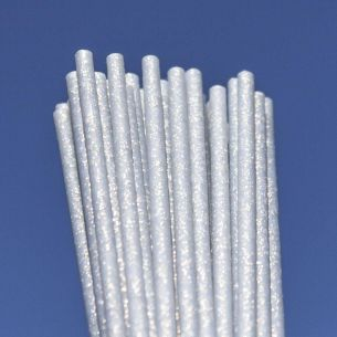 150mm x 4.5mm Silver Fairy Dust Glitter Plastic Lollipop Sticks x 50