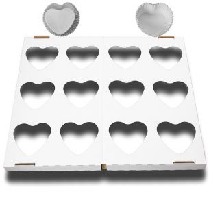 Valentines Heart Shaped Cupcake Cases x24 White with 1 Baking Tray
