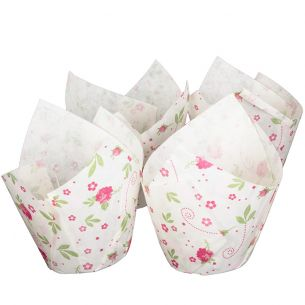 White Tulip Wraps with Floral Design x 24