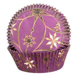 Purple Cupcake Cases with Gold and Black Star Design x60