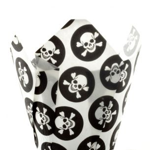 Skull & Cross Bones Muffin Tulip Wraps x24