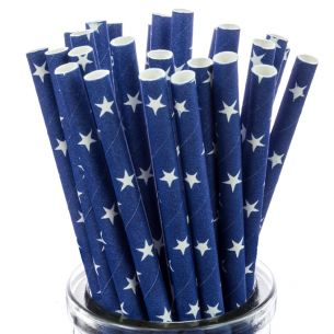 White Star On Blue Paper Straws x25
