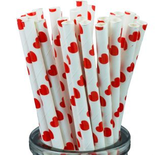Valentines Red Hearts On White Paper Straws x25