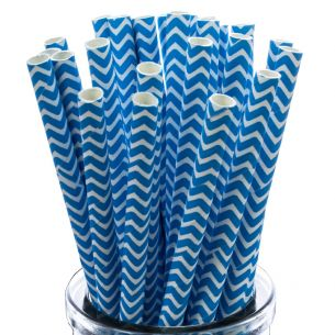 Blue Zigzags On White Paper Straws x25