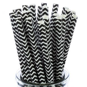 Black and White Zig Zag Paper Straws x25