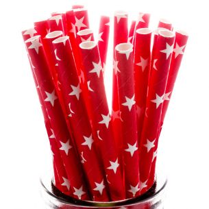 White Stars on Red Straws x25 PAPSTR008