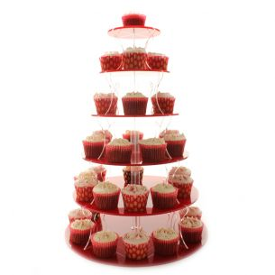 6 tier cupcake stand red