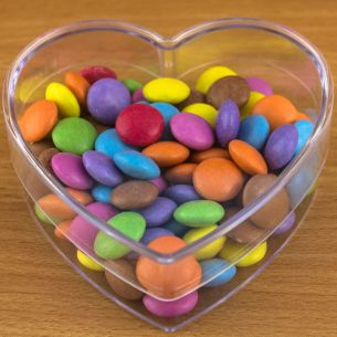 Valentines Heart Shaped Box Fillable Transparent Plastic Container x 1