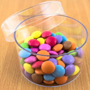 Round  Fillable Transparent Plastic Container x 1