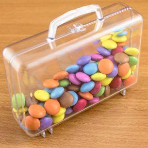 Suitcase Shaped Fillable Transparent Plastic Container x 1