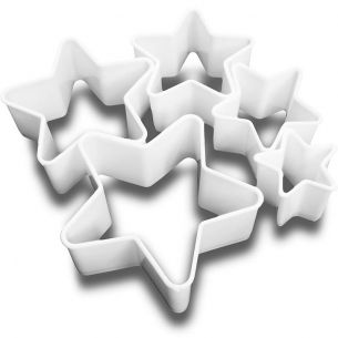 TC2069 5 Plastic Star Shaped Cookie / Fondant Cutter Set