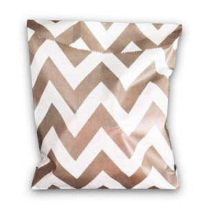 Paper Sweet Bags x25 - Grey Chevron Pattern - flat