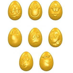 Chocolate Mould Egg Smiley 33 mm 8 Fig.
