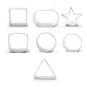 7 Piece Metal Cookie Cutters Simple Shapes Combo