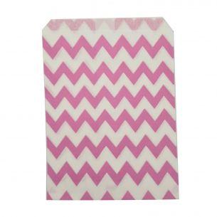 Paper Sweet Bags x25 - Pink Chevron Pattern - flat