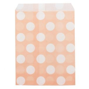Large White Polka dots on Peach Coloured Paper Bags x 25